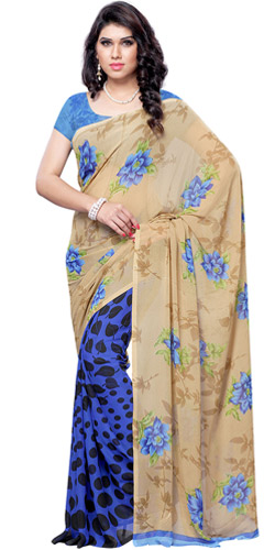 Splashy Blush Faux Georgette Saree
