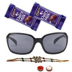 Appealing Hot Summer Gents Sunglasses from <b>Fastrack</b> with One Rakhi and Chocolates and Roli Tilak Chawal