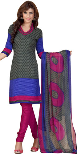 Pretty Printed Chiffon and Crepe Salwar Suit from Siya