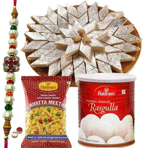 Free  Rakh, Roli tika and Chawal along with  <font color=#FF0000>Haldiram</font> special sweet pack