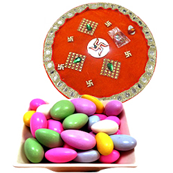 Outstanding Combo Gift of One Golden Thali and Sugar Coated Almonds