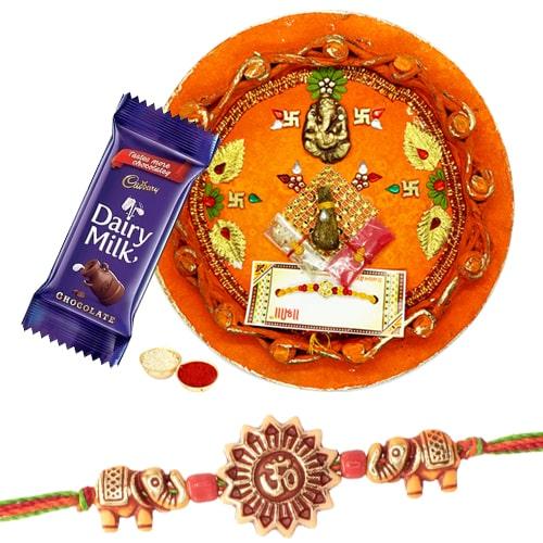Rakhi Thali N 1 Dairy Milk with One Rakhi