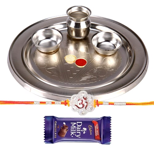 Silver Plated Rakhi Thali with One Rakhi with one Dairy Milk