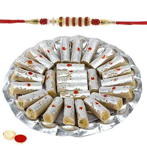 Mesmerizing Rakhi with Kaju Pista Roll Gift Set