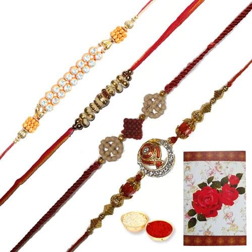 Gorgeous Gift of 4 Fashionable Rakhi Set