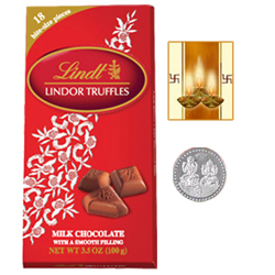 Swiss Lindt Lindor Chocolates ( 143 Gms. pack ) with free Siver Plated Coin and Diwali Card.