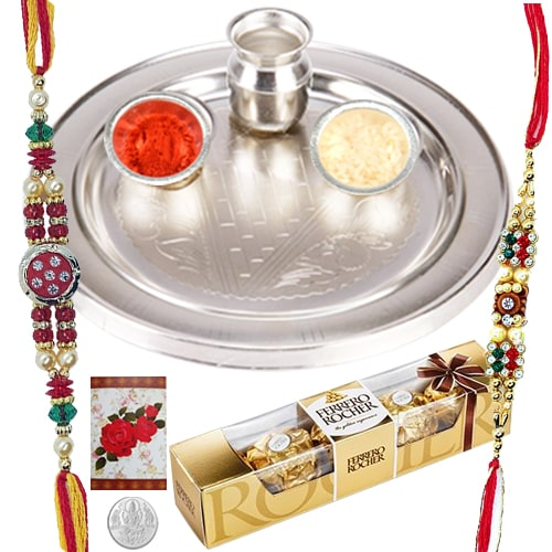 Beautiful Silver Thali with 2 Rakhis, 3 Ferrero Rocher Choco and a Free 5 Gm. Silver Coin