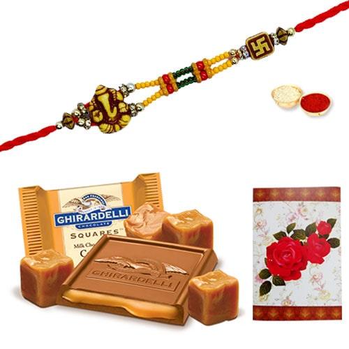 Gorgeous Designer Ethnic Rakhi with famous Ghiradelli Chocolates