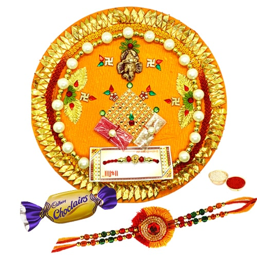 Magnificent Rakhi and Thali with Flavor of Fraternity Chocolates