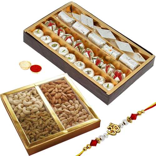 Delectable Sweets and Dried Fruits Combo and Fancy Rakhi Thread