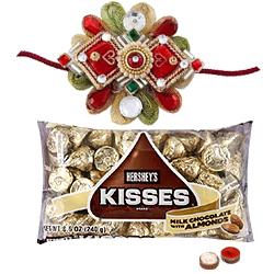 2 Designer Ethnic Rakhi with Hersheys Kisses ( 75 Gms.)<br /><font color=#0000FF>Free Delivery in USA</font>