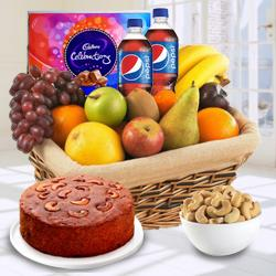 Plum Cake 1 Lb, Pepsi 2 Pet Bottles, Cadburys Celebration Pack, Fresh Fruits 2 Kg, Roasted Cashew 500 gms