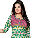 Enticing Pure Cotton Printed Salwar Green and Pink Colour