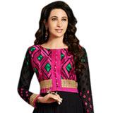 Fascinating Black and Pink Colour Coordinated Anarkali Salwar Kameez