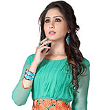 Designer Shaded in Turquoise Georgette Embroidered Kurti