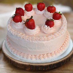 Indulgent 1 Lb Strawberry Cake from 3/4 Star Bakery to Humayun Nagar