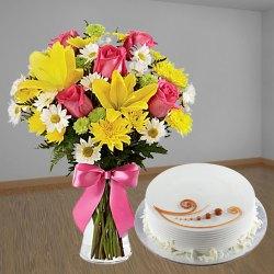 Sweetest Mixed Flowers Bouquet & Vanilla Cake