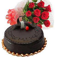 Zesty Chocolate Truffle Cake with Red Roses Bouquet