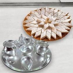 Silver plated Puja Thali with Silver Plated Lakshmi Ganesha with Haldiram's Kaju Katli