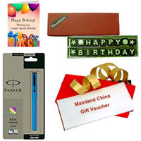 Outstanding Combo of Mainland China Gift Voucher of Rs.1000, Homemade Chocolate Pack, Parkar Pen N Birthday Card
