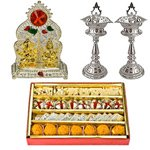 Designer and Pious Puja Hamper with Sweets