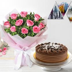 Tempting 10 Pink Roses and 1/2 Kg Eggless Chocolate Cake to Barkat pura