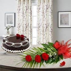 Magnificent 3 Red Roses with 1/2 Kg Chocolate Cake to Barkat pura