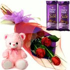 Admirable Small Teddy, Roses and Dairy Milk Silk Chocolate Bars to Krishna