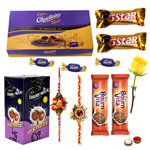 Cadbury's Assorted Chocolates with 2 Rakhi with One Yellow Rose