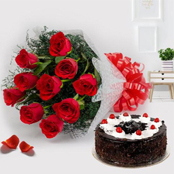 Cherished Black Forest Cake and Red Roses Bunch to Moghalpura