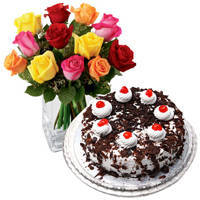 Luminous 24 Mixed Roses with 1 Kg Black Forest Cake from Taj or 5 Star Bakery