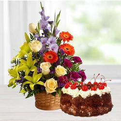 Striking seasonal Flowers with Black Forest Cake