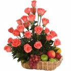 Dozen of incandescent Roses with nutritious Fruits Basket