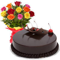 Beautiful Love Surprises 12 Mixed Roses Bunch with Chocolate Cake to Bhawani Nagar