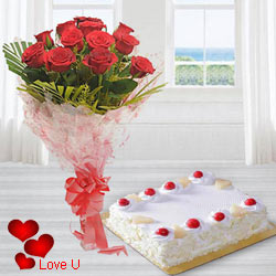 Dutch Red Roses with 1 Kg. Eggless Cake