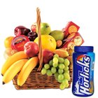Nutritious fresh Fruit Basket together with Horlicks and Biscuits
