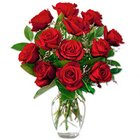 Captivating Red Roses in a Vase with Love to Padmarao