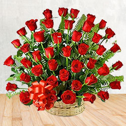 Exotic 50 Red Roses Passionate Bouquet to Krishna
