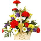Designed Multi Colored Carnations and Gerberas Arrangement
