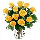 Charming Twelve Yellow Roses in a Vase with Full of Love to Mallapur