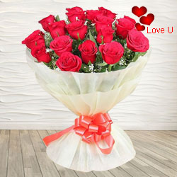 18 Exclusive <font color =#FF0000> Dutch Red </font>   Roses  Bouquet Nicely Wrapped
