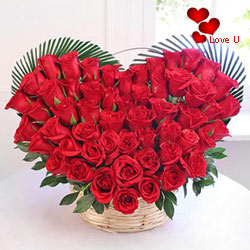 Red Roses in Heart Shape Arrangement.