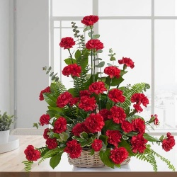 Attractive Basket of 12 Red Carnations