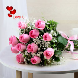 12 Pink Roses Bunch
