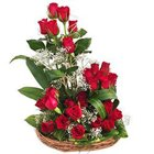 Flowering Basket Arrangement of 25 Dutch Red Roses