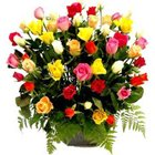 Fragrant Collection of Mixed Roses in a Basket