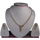 Dazzling Genuine Pearland Amercian Diamond Earring and Necklace Set with Pink Stones