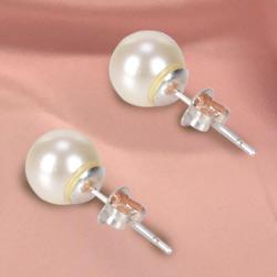 Off White Shaded Eye catching Genuine Pearl Tops Earrings Set