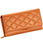 Brown Wave shaped Genuine Leather Ladies Wallet from Leather Talks