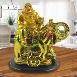 Laughing budha sitting on elephant